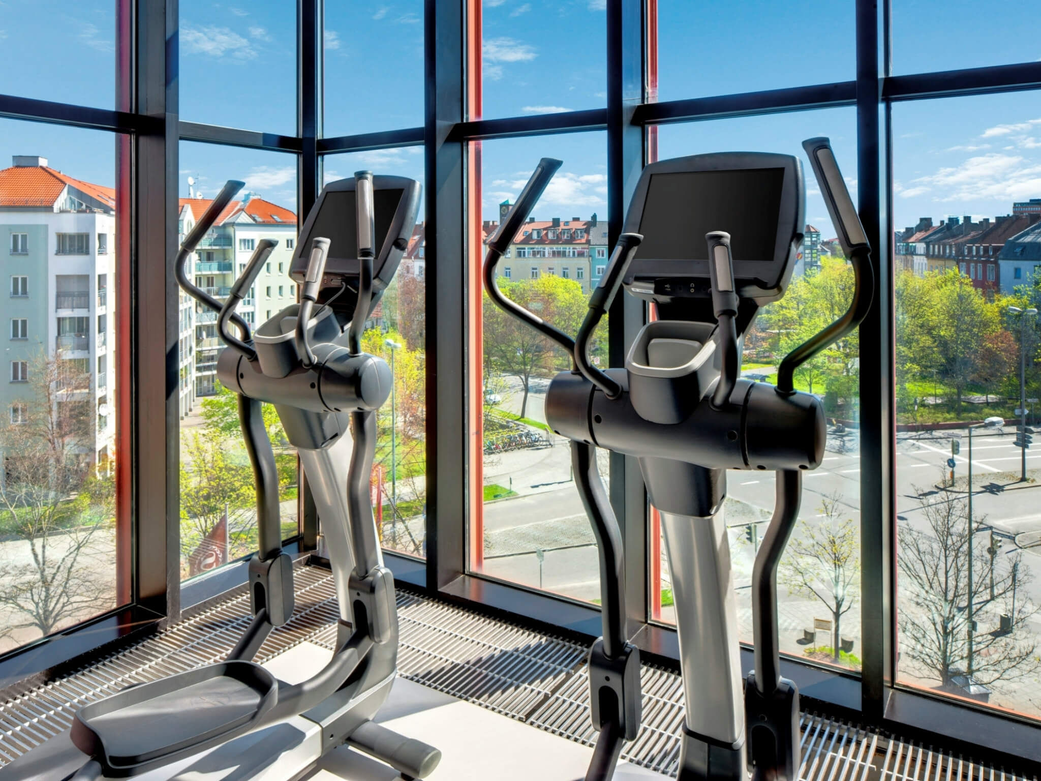 Fitness center with view to Munich